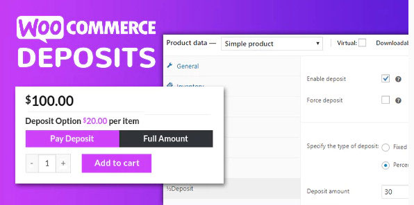 deposits in woocommerce