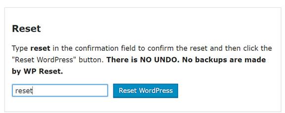 reset a wordpress site to default