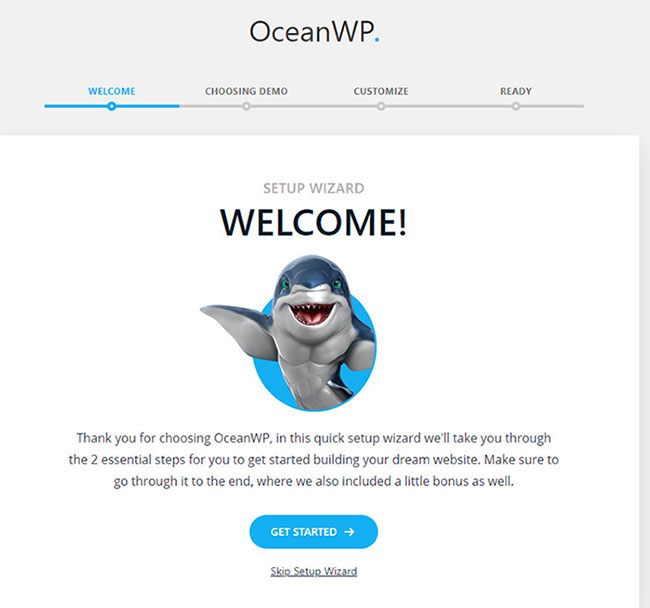 setup wizard in oceanwp theme