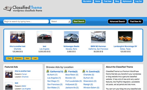 Classified Ads Theme sitemile review