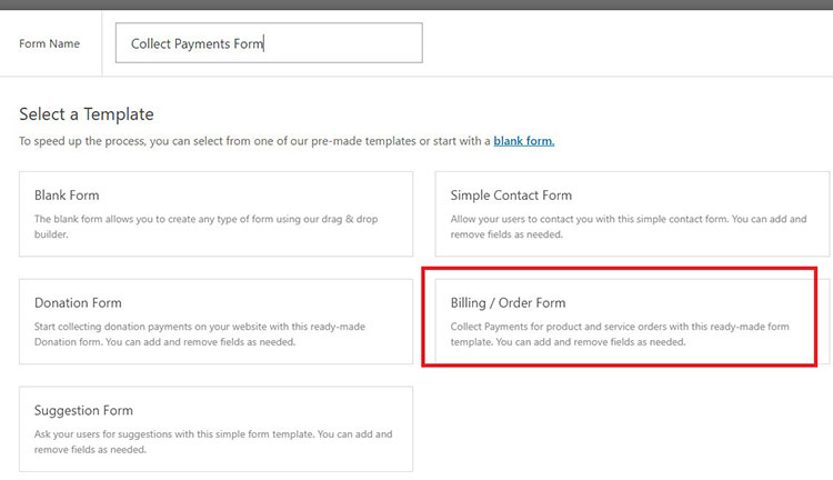 billing order form wordpress