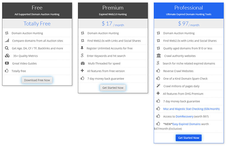 domain hunter gatherer pricing plans