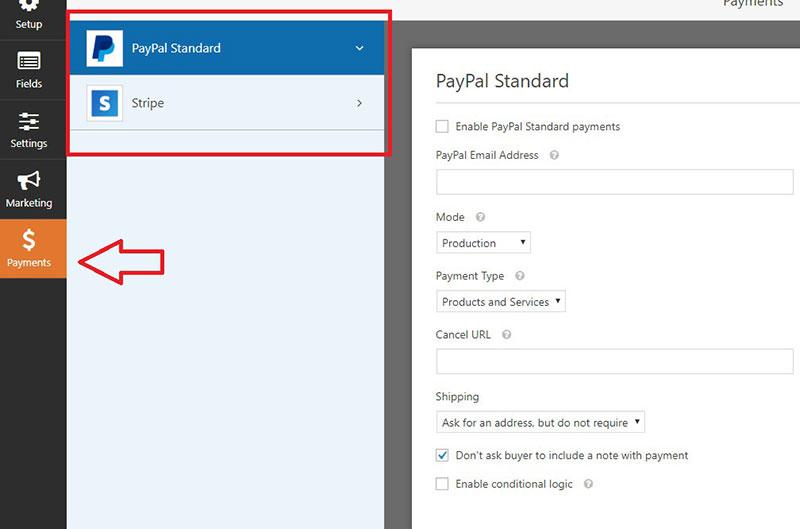 enable payment gateways wordpress form plugin