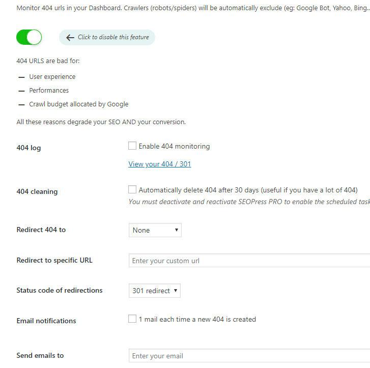 monitor 404 seopress plugin