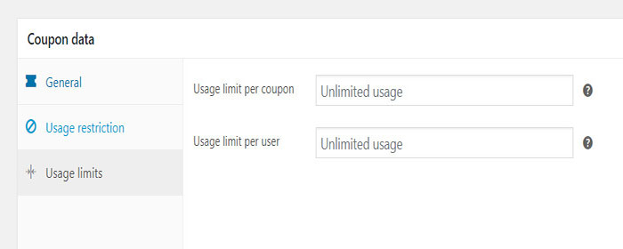 coupon usage limit per user woocommerce
