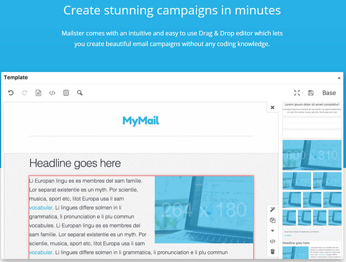 drag and drop email campaign editor plugin