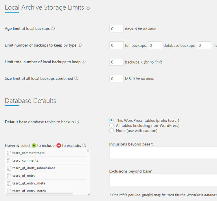 local archive storage limits