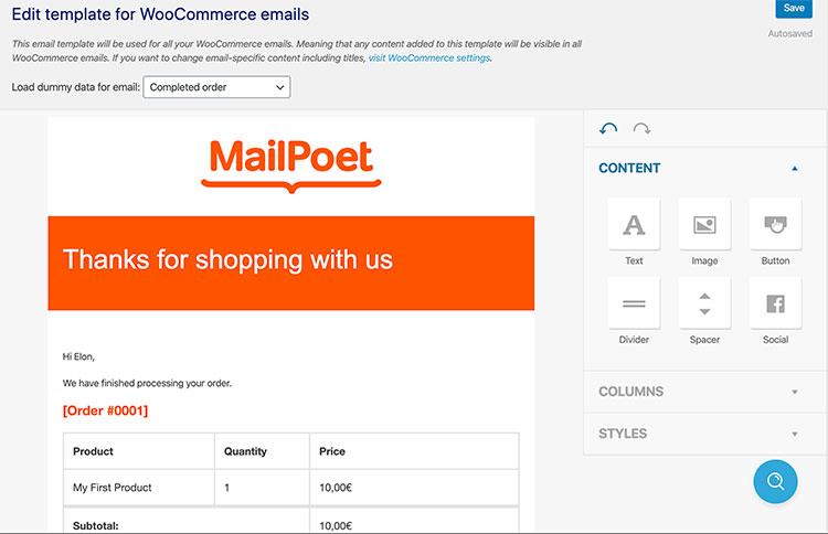 mailpoet email customizer
