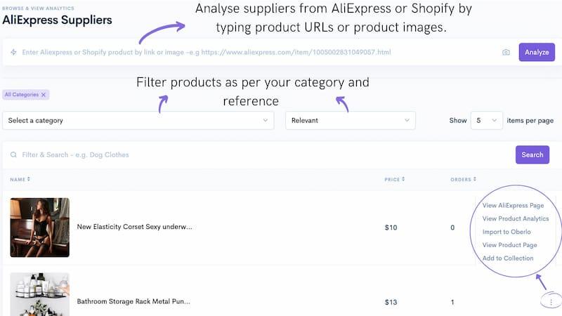 SaleSource supplier analysis.