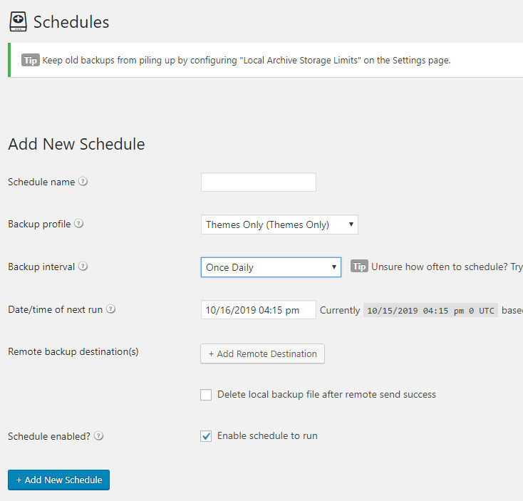 scheduling backups wordpress plugin