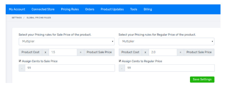 setting pricing rules woodropship