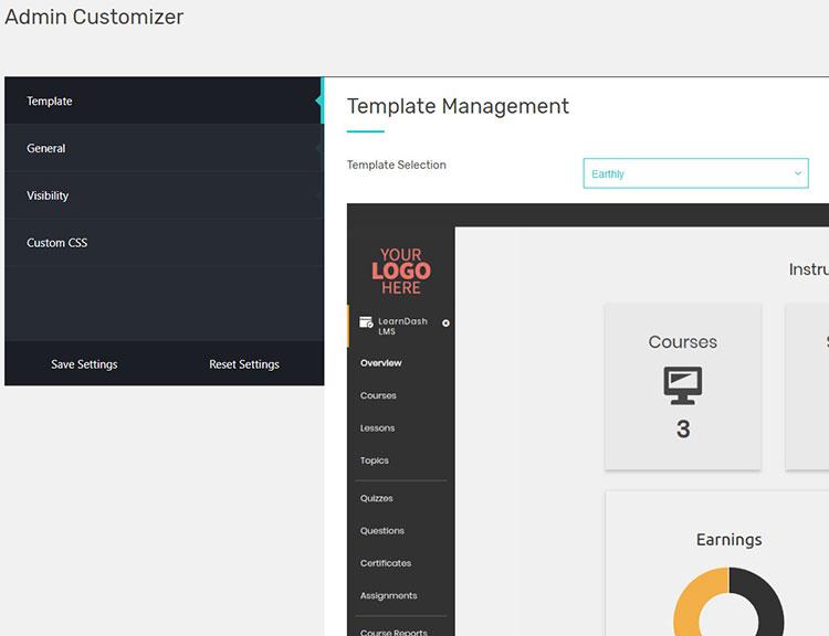 admin customizer settings