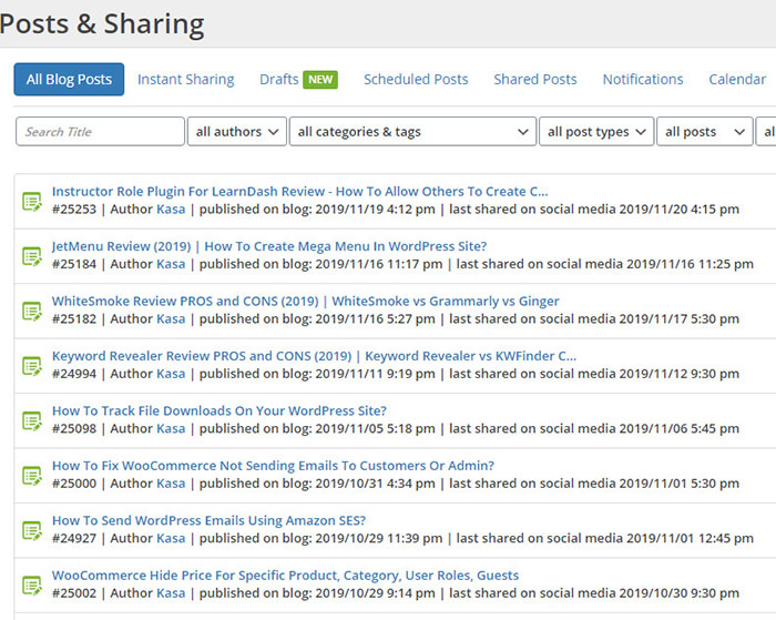 blog2social reporting function