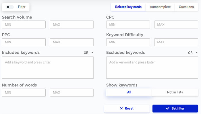filter search results kwfinder
