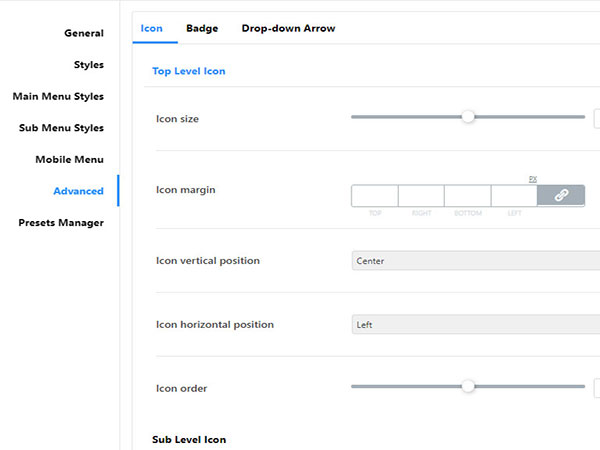 jet menu advanced settings