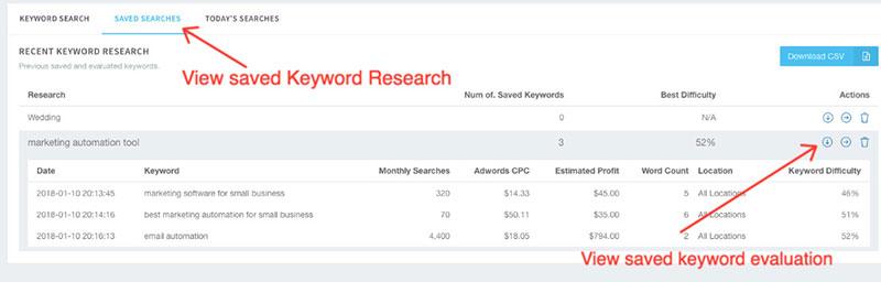 save keywords keyword revealer