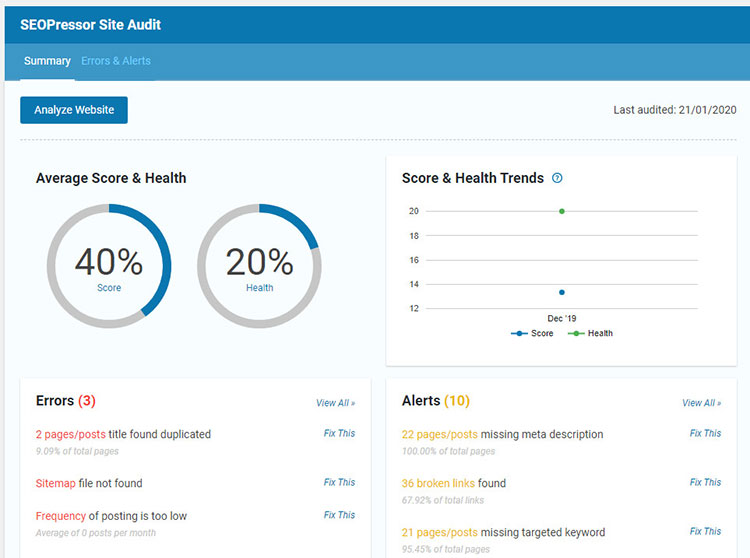 SEOPressor Site Audit