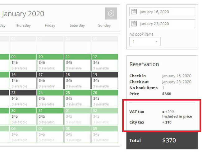 pinpoint booking taxes