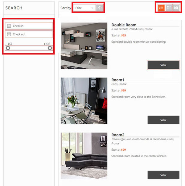search list example pinpoint booking