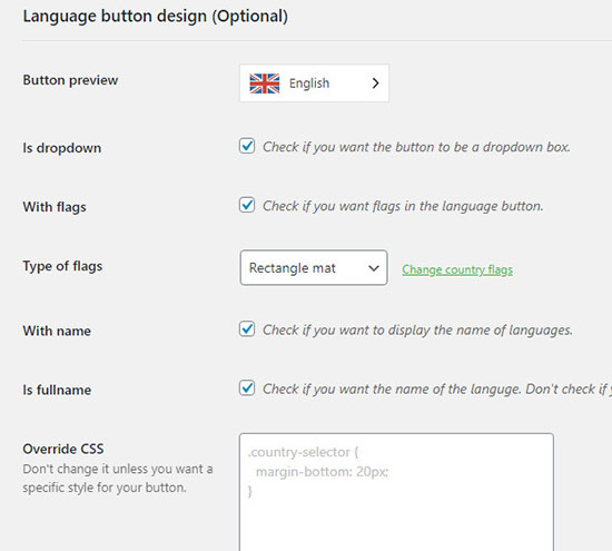 weglot language button design settings wordpress