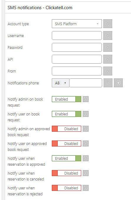 wordpress sms booking notifications