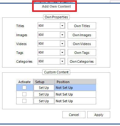 add own content kontent machine