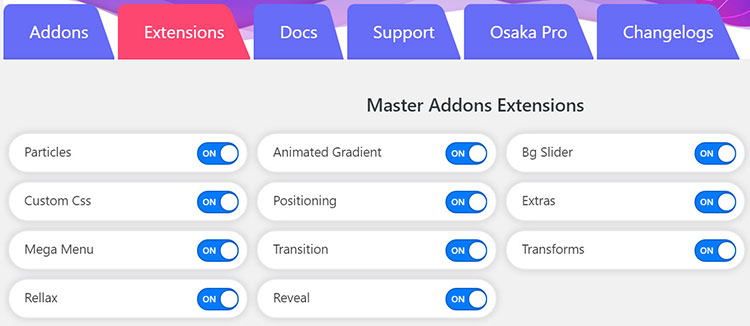 master addons for elementor extensions