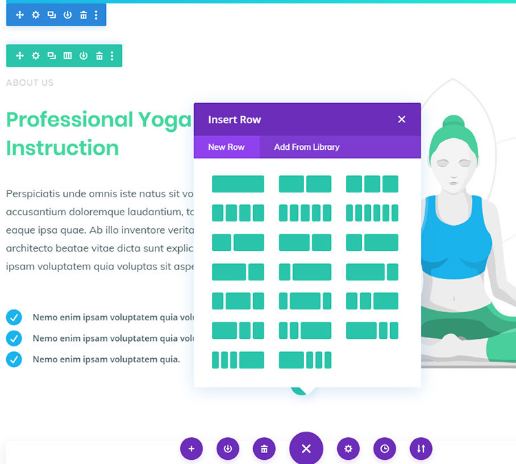 divi builder frontend interface