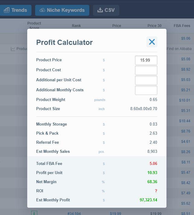 amzscout profit calculator