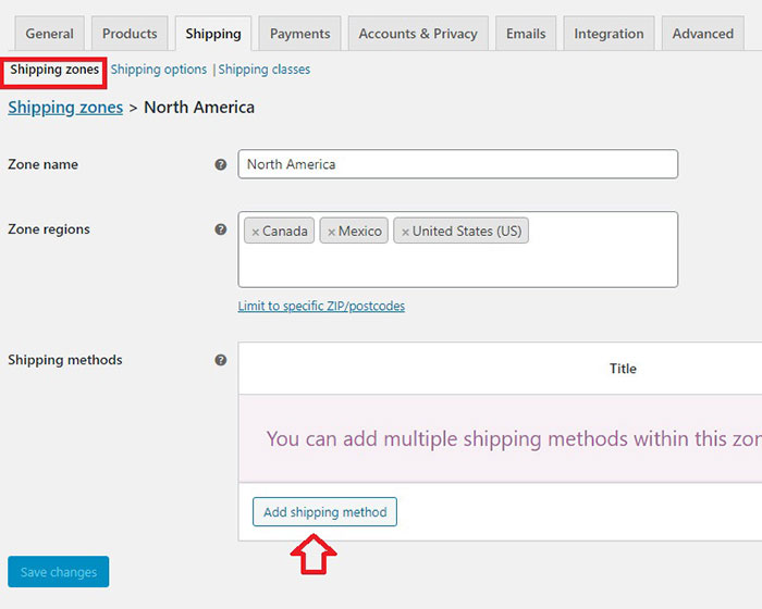 how to create shipping zones woocommerce