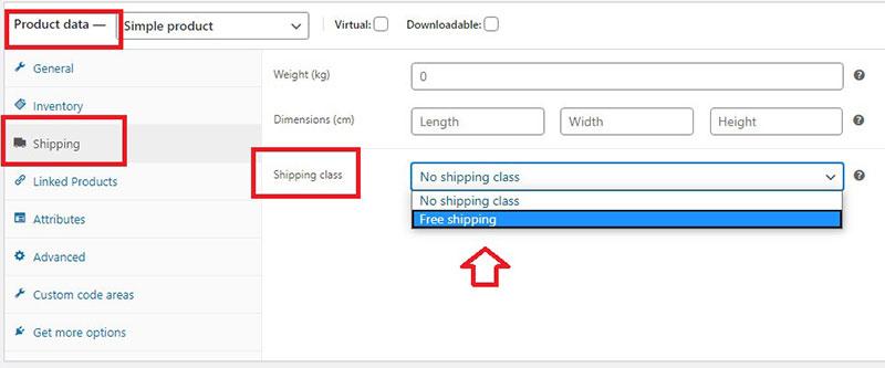 woocommerce free shipping single product