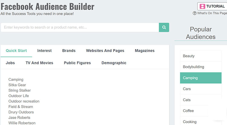 Sell The Trend Facebook Audience Builder feature.