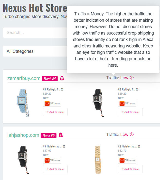 Nexus hot stores allows you to spy on other stores.