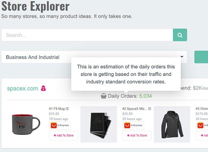 Shopify Stores Explorer dashboard.