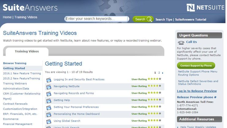 There are many NetSuite training videos available in support centre.