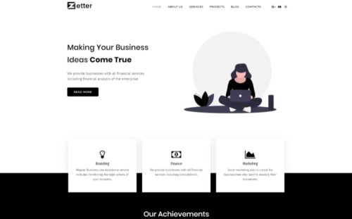 Zetter Business Black&White Elementor Theme.