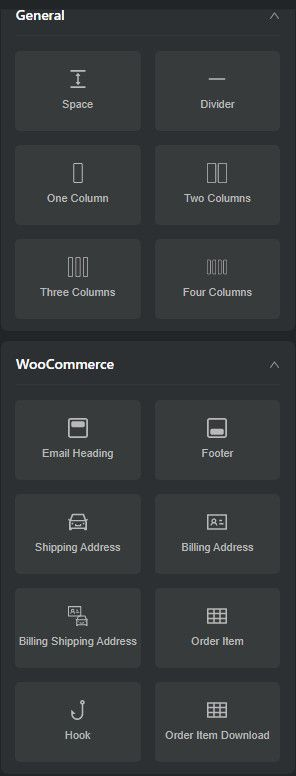 Basic and advanced elements are thoughtfully categorized.