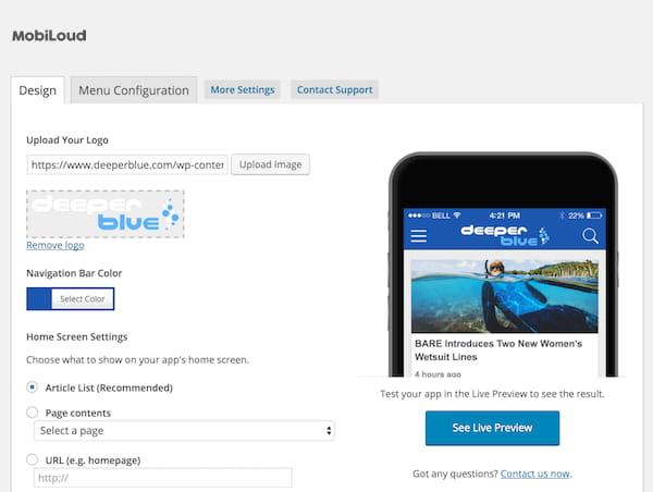 Convert your WordPress website to native mobile apps.