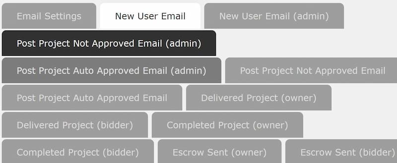 Project Theme email settings options.