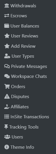 Project Theme admin features.