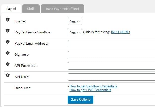 Project Bidding theme payment gateways.