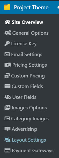 SiteMile Project theme setting options.