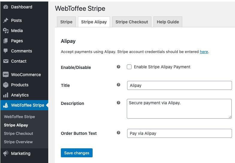 Stripe Alipay WooCommerce integration.