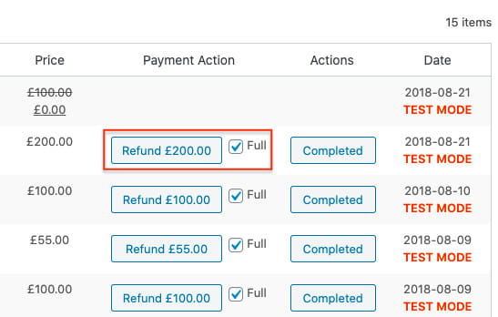 Stripe plugin for WooCommerce full refund.