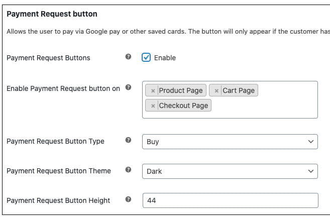 Stripe Google Pay WooCommerce integration.