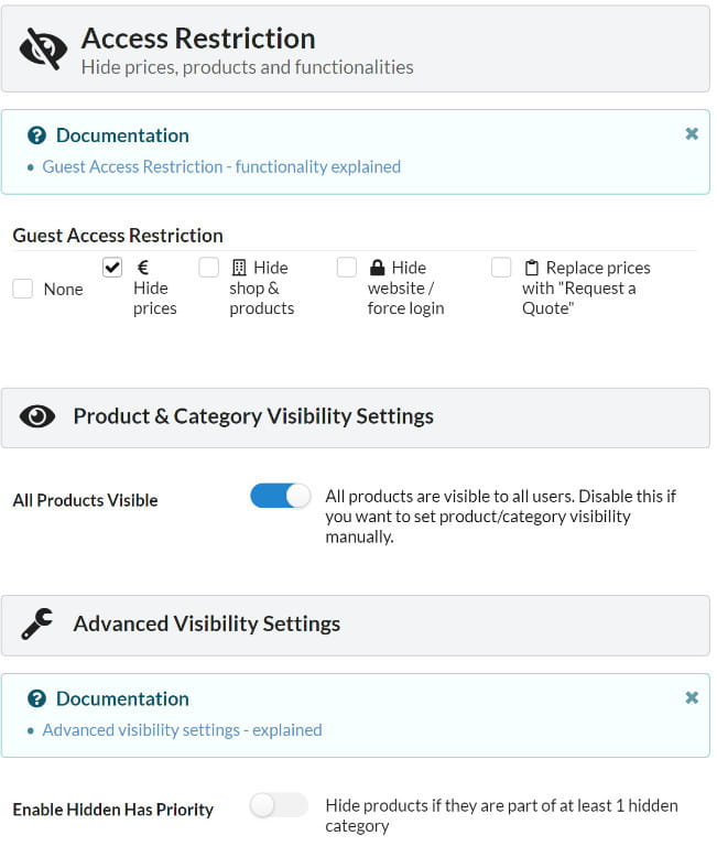 B2BKing hide prices, products and functionalities.