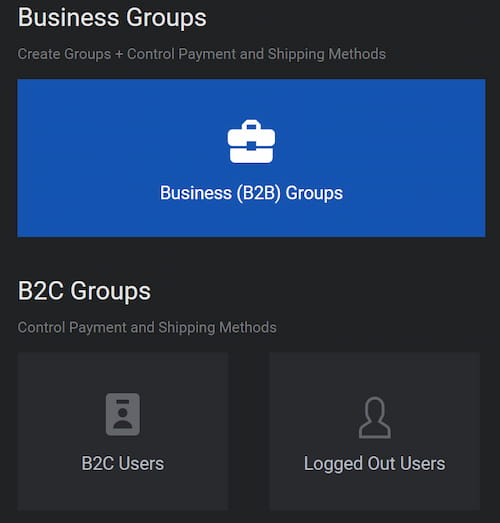 B2BKing create groups plus control payment and shipping methods.
