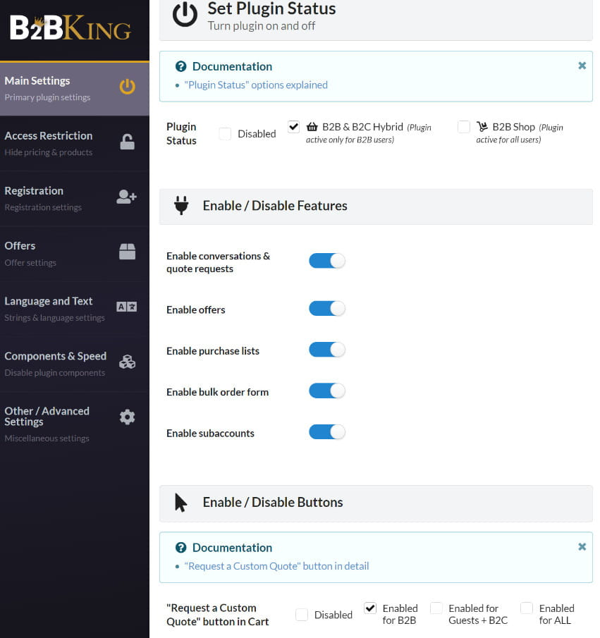 B2BKing main settings options.