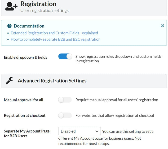 B2BKing user registration settings.