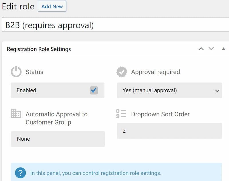 Creating B2BKing registration roles.